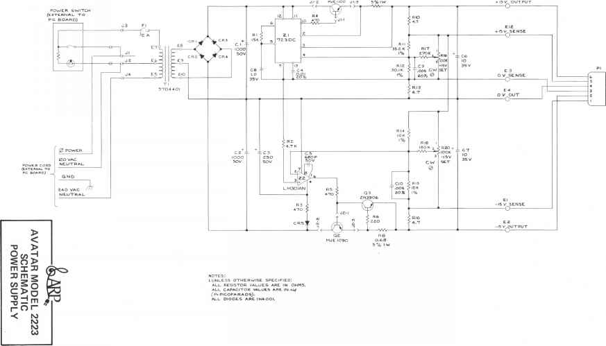 1624_23_107 assy model 76205 avatar model 2223 wiring diagram power supply arp avatar  at aneh.co