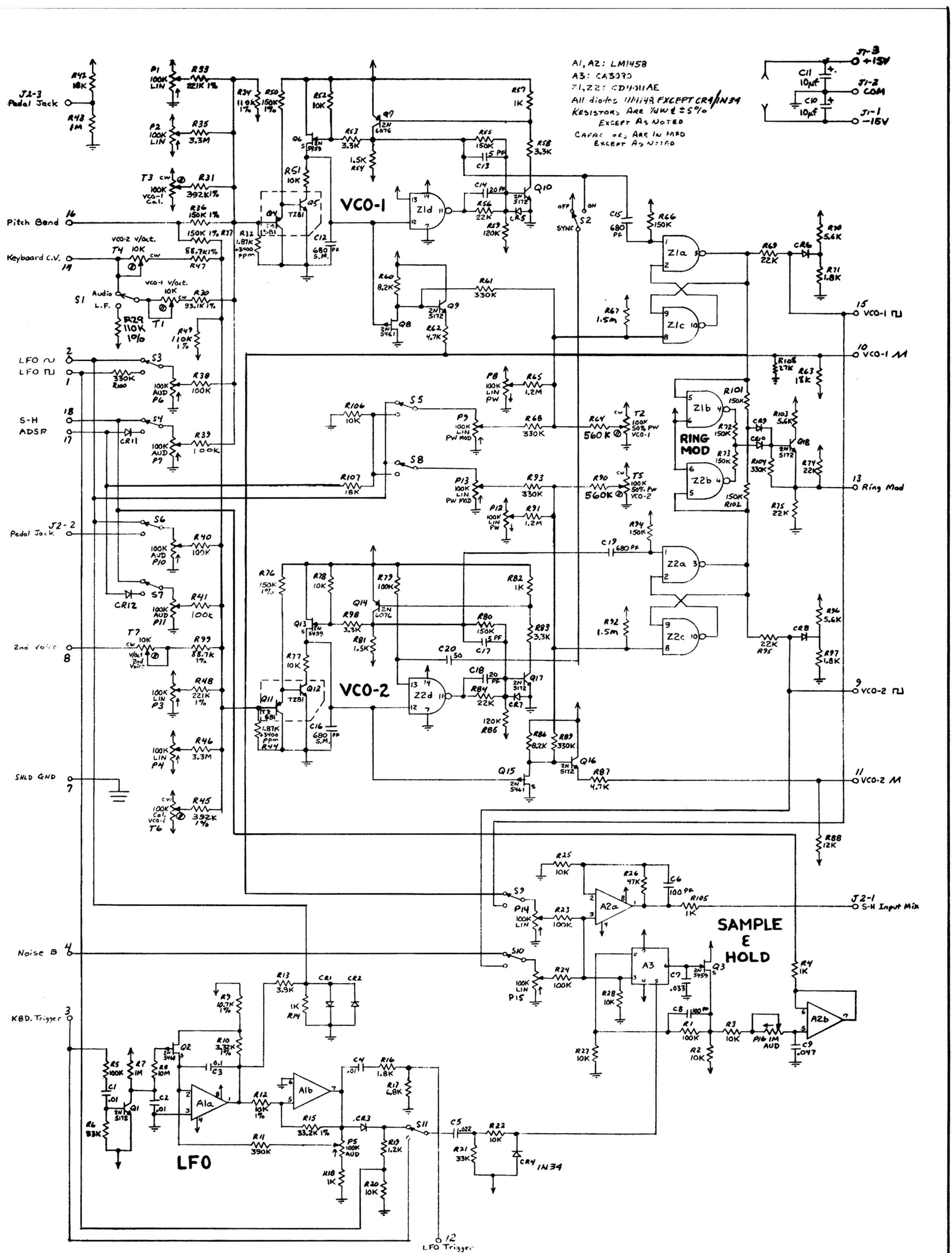 Arp Synth Schematic